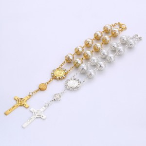 10 mm glass pearl with flower bracket Bracelet cross Catholic Rose Gold Rosary Bracelet Beaded Bracelet Jesus