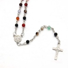 Cross Necklace color agate Mini Rosary