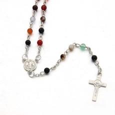 Collier croix couleur agate Mini Rosaire