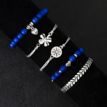 Four leaf grass, blue love, water drops, beads, personalized compass, arrow, diamond, woven five piece Bracelet