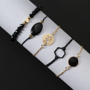Manual Black Beaded map Bracelet round inlaid geometric black gem 5-piece set Bracelet