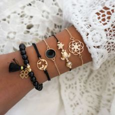 Black tassel Beaded Bracelet personality openwork map turtle knitting five piece Bracelet