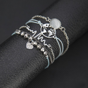ECG Black Pearl map pearl chain round stone bracelet set