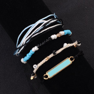 Blue hand woven bracelet, Sen series, blue square, pine stone, rice beads, 4-piece Bracelet