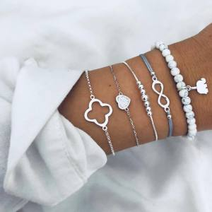White Pearl eight character elephant love hollow flower piece Bracelet Set ornament