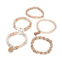 Freshwater Pearl Glass Crystal five pieces of a set of Beaded Bracelet Set