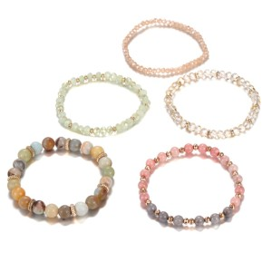Glass pearl natural stone bracelet set with five beads and one set of Bracelet