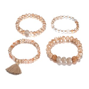 Brown glass coated beads Champagne Diamond ball set of four Beaded Bracelets