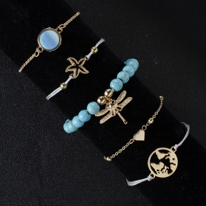 Blue pine stone Dragonfly Bracelet personality natural lime rope map starfish five piece Bracelet