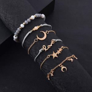 Hollow size love bracelet gray hand beaded pendant 5 sets of hand ornaments