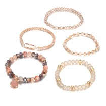Brown glass beads, champagne binding, five pieces of diamond, a set of Beaded Bracelet Set
