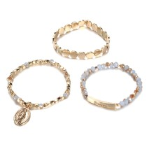 Two color glass bead alloy wafer bracelet set, 3 pieces and one set of Beaded Bracelet