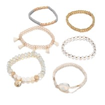 Protein coated glass cut bead six star alloy accessories six suit Bracelets