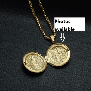 Commemorative Stainless steel ornaments religious ornaments can be opened to put picture pendants