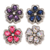 20MM design snap Silver Plated With rhinestones charms snaps jewerly