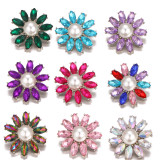 20MM design snap Silver Plated With rhinestones and pearl charms snaps jewerly