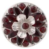 20MM Flower design snap argent plaqué strass rouge KC7397