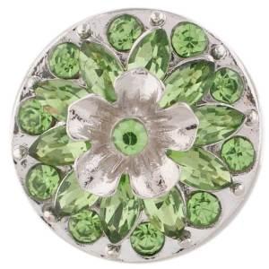 20MM Flower design snap silver Plated green Rhinestone KC7395