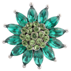 20MM Flower design snap silver Plated green Rhinestone KC8967