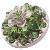 20MM Flower design snap silver Plated green Rhinestone KC7395
