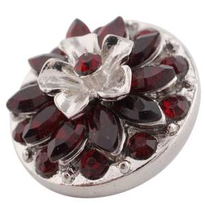 20MM Flower design snap silver Plated red Rhinestone KC7397
