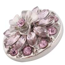 20MM Flower design snap silver Plated pink Rhinestone KC7399