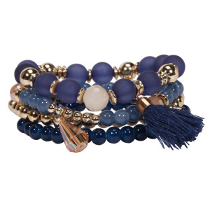 Multi layer glaze Stone Bracelet fabric tassel hand ornament