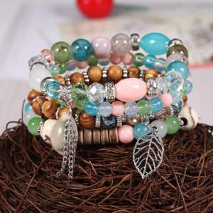 Семь цветов алмазов из бисера листьев браслет раковина трещины камень ручной орнамент