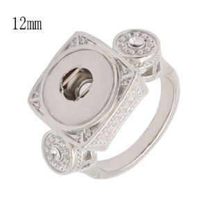 8 # 1 botones 12MM snap silver Ring fit broches joyería KS1309-S