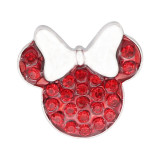 20MM Cartoon design snap silver Plated red Rhinestone KC8310