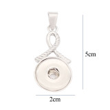 Silk ribbon snap sliver Pendant  fit 20MM snaps style jewelry KD0323