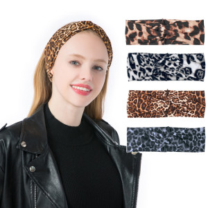 Hairband fashion leopard cross wide headband