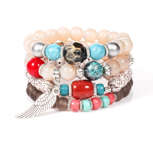 Honey wax Bodhi multi layer bracelet with metal wings, colored glass beads and multi-element Bracelet