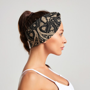 Bohemian style printed Headband New Women's fabric wide cross hair band