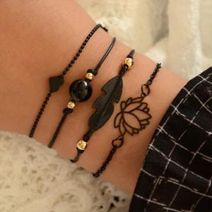 Pulsera tejida a mano de perlas de loto Pulsera de traje de 4 piezas negra simple