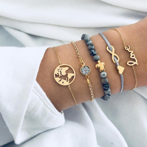 Woven love 8-letter English love world map turtle grey beading with diamond and pine Stone Bracelet 5-piece set
