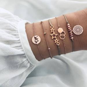 Five star world map Bracelet Beads Bracelet grey line 5-piece Bracelet Set
