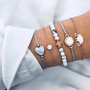 Five pieces of personalized pine stone turtle love crab bracelet Jewelry