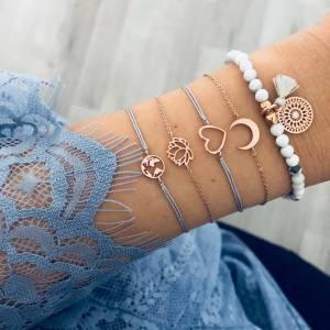 Crescent Lotus World Map Bracelet tassel beads personalized Bracelet 5-piece suit hand ornaments