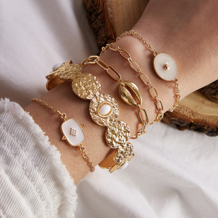 White oil dripping resin shell chain opening 5-piece Bracelet Set