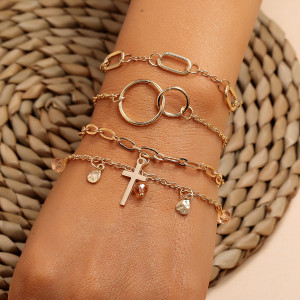 Cross crystal water drop tassel size circle 8-character couple geometry ring buckle 4-piece Bracelet Set
