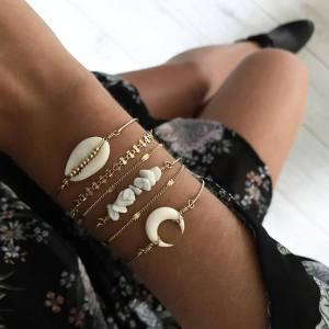 Gold bracelet personality shell natural stone six piece set bracelet bracelet