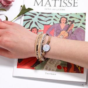 Fashion magnet buckle woven bracelet pendant Python pattern colorful shell women's Bracelet