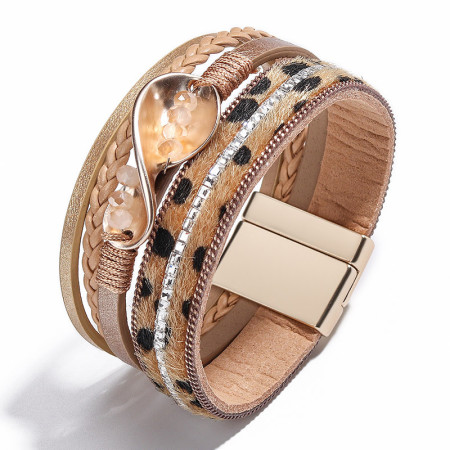 Pu square brick multi-layer braided wave Bracelet leopard Bracelet