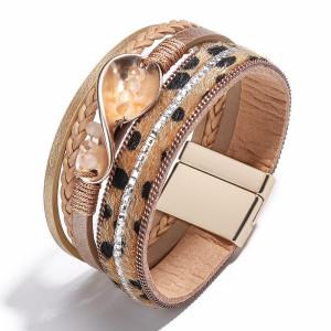 Pu square brick multi-layer braided wave Bracelet leopard Bracelet