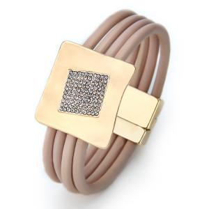 Bracelet en cuir PU à quatre couches avec fermoir magnétique kaki incrusté de diamants
