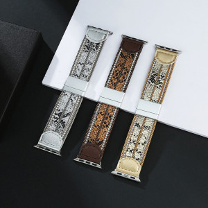 Creative new fashion leather leopard chain diamond for Apple watch Apple watch For 38mm-42mm with magnetic clasp