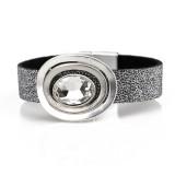 Овальный акриловый кристалл PU кожаный женский браслет