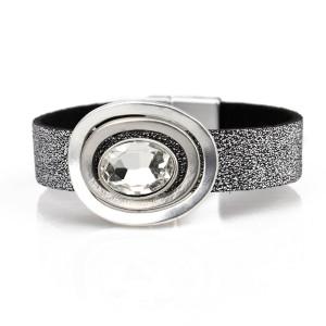 Oval acrylic crystal PU leather women's Bracelet