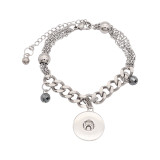 1 buttons snap silvery stainless steel bracelet fit snaps jewelry KC0580